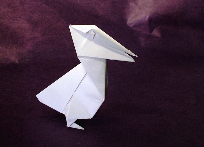 Origami Pelican by Ashimura Shun'ichi Folded from a square of origami paper by Gilad Aharoni on www.giladorigami.com