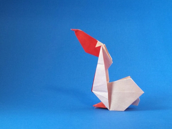 Origami Pelican by Juan Francisco Carrillo Folded from a square of origami paper by Gilad Aharoni on giladorigami.com