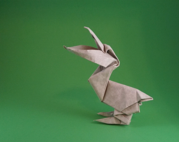 Origami Pelican by Kunihiko Kasahara Wet-folded from a square of Astroparche crepe embossed cardstock by Gilad Aharoni on giladorigami.com
