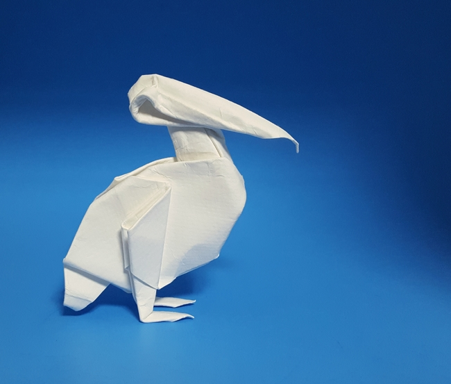 Origami Pelican by Ligia Montoya folded by Gilad Aharoni