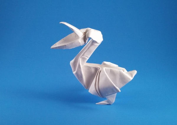 Origami Pelican by John Montroll Wet-folded from a square of watercolor paper by Gilad Aharoni on giladorigami.com