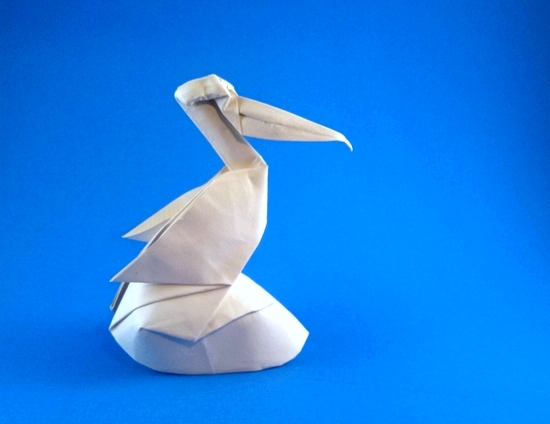 Origami Pelican by Jozsef Zsebe Wet-folded from a square of 160gsm Canson art paper by Gilad Aharoni on giladorigami.com