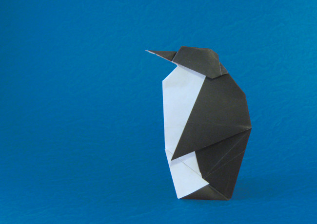 Origami Penguin by Peter Engel Folded from a square of origami paper by Gilad Aharoni on giladorigami.com