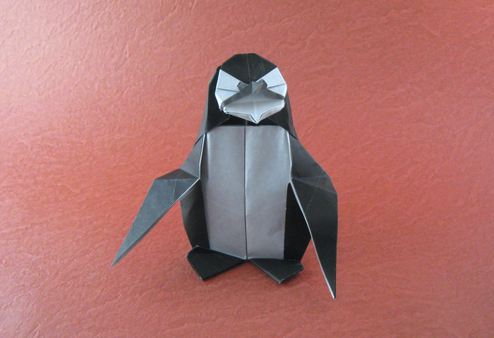 Origami Penguin by Fernando Gilgado Gomez Folded from a square of origami paper by Gilad Aharoni on giladorigami.com