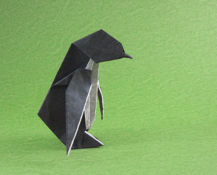 Origami Penguin by Alice Gray Folded from a triangle of double-sided Unryu paper by Gilad Aharoni on giladorigami.com