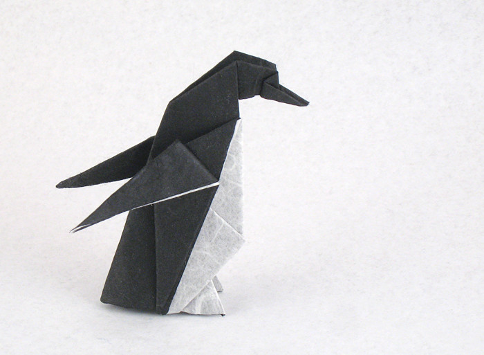 Origami Penguin by Kunihiko Kasahara Folded from a square of double-sided Unryu paper by Gilad Aharoni on giladorigami.com