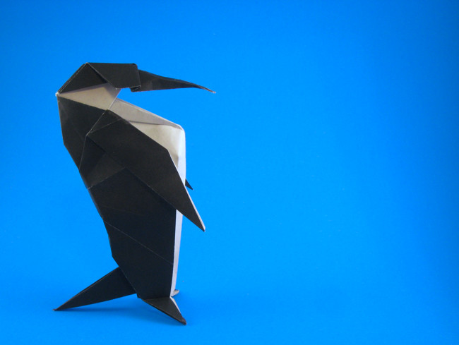 Origami Emperor penguin by David Llanque Folded from a square of origami paper by Gilad Aharoni on giladorigami.com