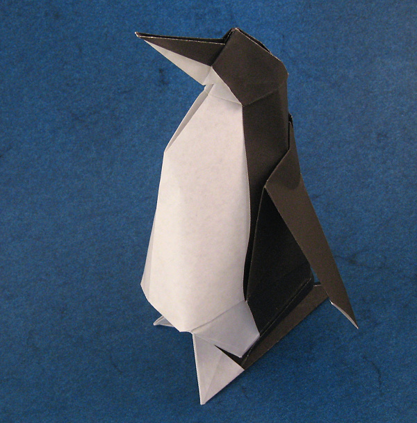Origami Penguin by Jun Maekawa Folded from a square of origami paper by Gilad Aharoni on giladorigami.com