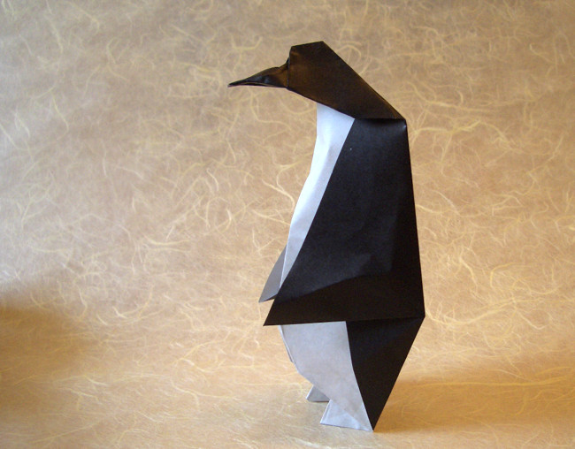 Origami Penguin by Akira Yoshizawa Folded from a square of origami paper by Gilad Aharoni on giladorigami.com