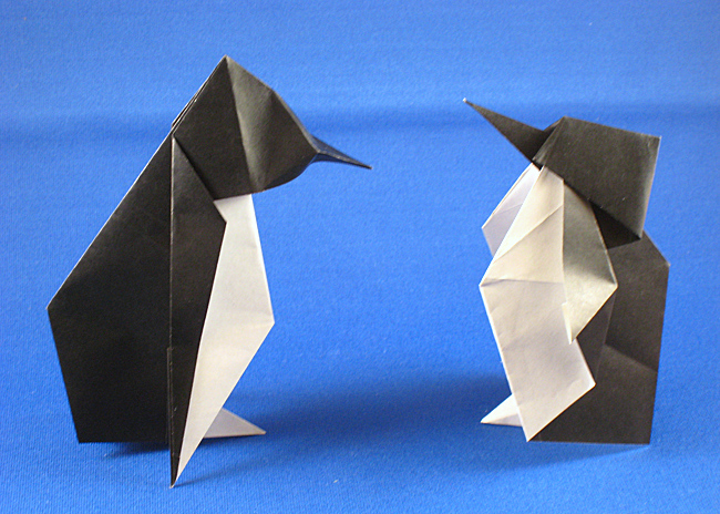 Origami Penguin by Kunihiko Kasahara Folded from a square of origami paper by Gilad Aharoni on giladorigami.com