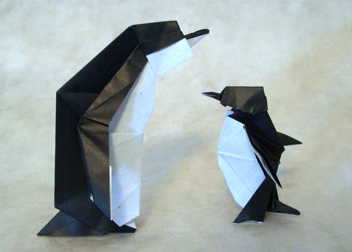 Origami Penguin by Tony O'Hare Each folded from a square of origami paper by Gilad Aharoni on giladorigami.com
