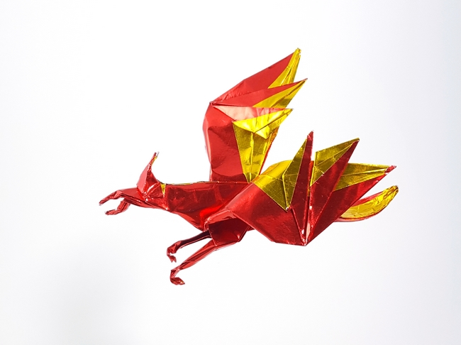 Origami Phoenix by Paul Frasco Folded from a square of Japanese duo foil by Gilad Aharoni on www.giladorigami.com