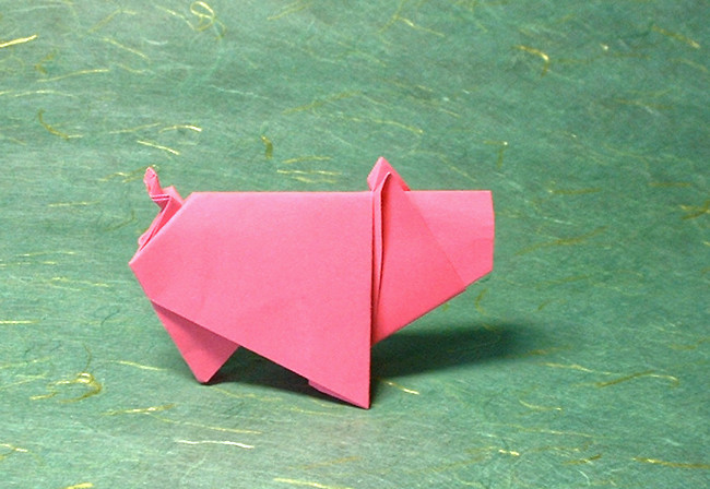 Origami Pig by Eduardo Clemente folded by Gilad Aharoni