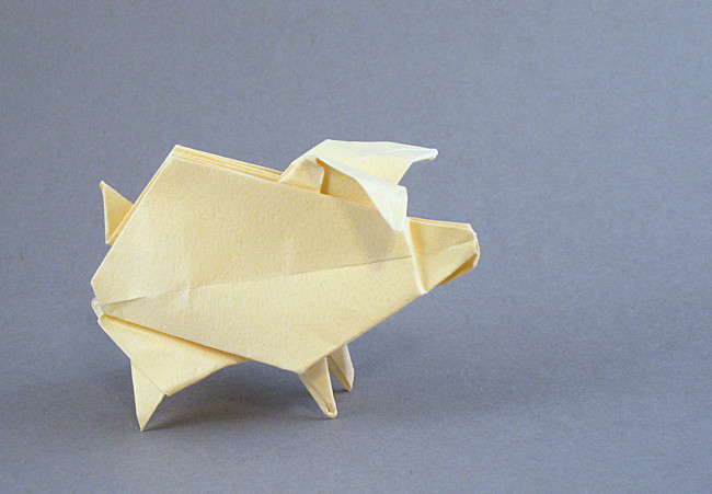 Origami Pig - inflatable by Roman Diaz Folded from a square of Tant paper by Gilad Aharoni on giladorigami.com