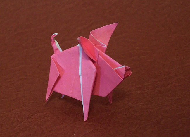 Origami Pig by Nguyen Hung Cuong folded by Gilad Aharoni