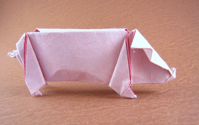 Origami Pig by Kunihiko Kasahara Folded from a square of Unryu paper by Gilad Aharoni on giladorigami.com