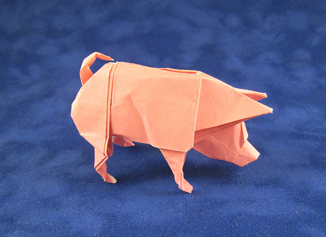 Origami Pig by Ronald Koh Folded from a square of origami paper by Gilad Aharoni on giladorigami.com