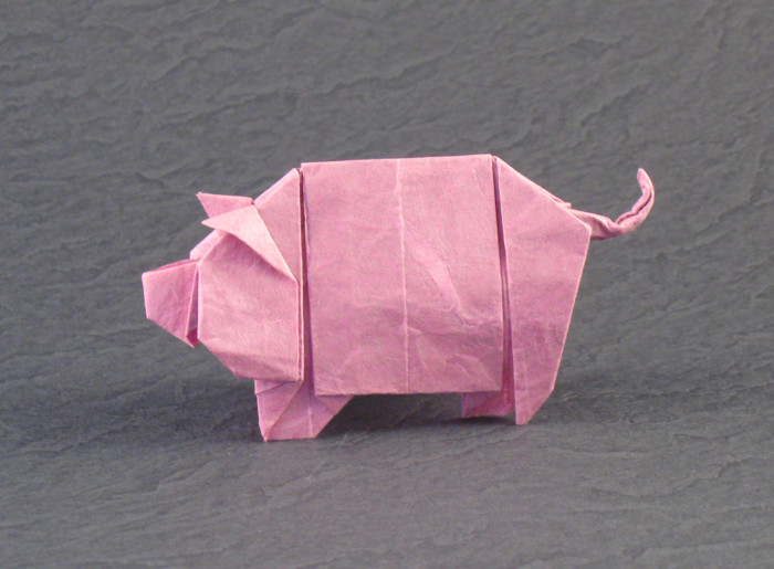 Origami Pig by Tony O'Hare folded by Gilad Aharoni on giladorigami.com