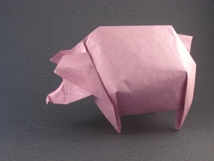 Origami Pig by Jozsef Zsebe Folded from a square of Unryu paper by Gilad Aharoni on giladorigami.com