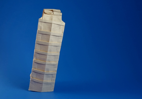 Origami The Leaning Tower of Pisa by Jordan Langerak (Langko) folded by Gilad Aharoni