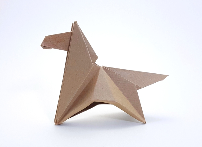 Origami Pony by Michael G. LaFosse Folded from a square of Kraft paper by Gilad Aharoni on www.giladorigami.com