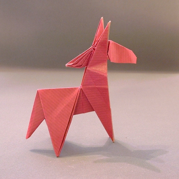 Origami Ponytail pony by Hatori Koshiro Folded from a square of Kraft paper by Gilad Aharoni on giladorigami.com