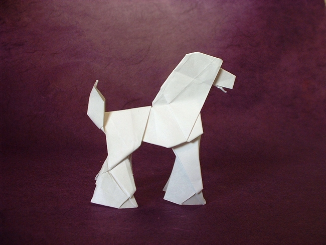 Origami Poodle by Seiji Nishikawa Folded from a square of origami paper by Gilad Aharoni on giladorigami.com