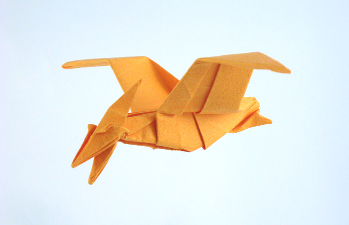 Origami Pteranodon by John Montroll Folded from a square of Tant paper by Gilad Aharoni on www.giladorigami.com