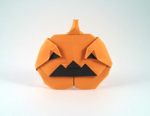Origami Jack-O-Lantern by Mark Bolitho Folded from a square of watercolor paper by Gilad Aharoni on giladorigami.com