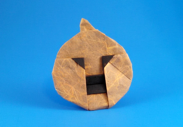 Origami Jack-O-Lantern by Marcia Joy Miller Folded form a square of double sided unryu paper by Gilad Aharoni on giladorigami.com