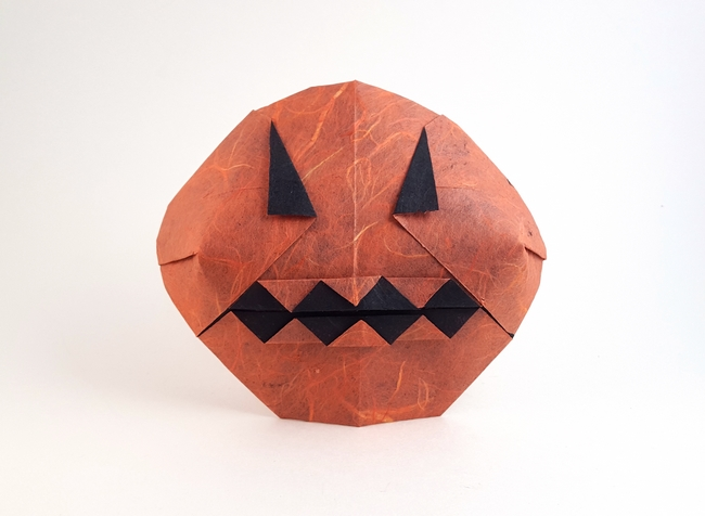 Origami Jack-O-Lantern by Nicolas Terry Folded from a square of duo Unryu paper by Gilad Aharoni on giladorigami.com