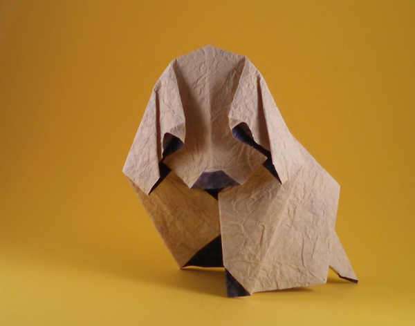 Origami Puppy by Akira Yoshizawa Folded from a square of scrapbooking paper by Gilad Aharoni on giladorigami.com