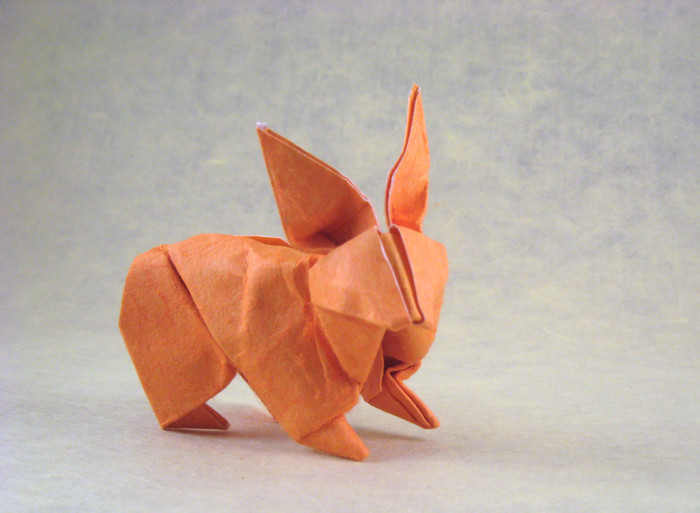 Origami Rabbit by Steven Casey Wet-folded from a square of double-sided mulberry paper by Gilad Aharoni on giladorigami.com