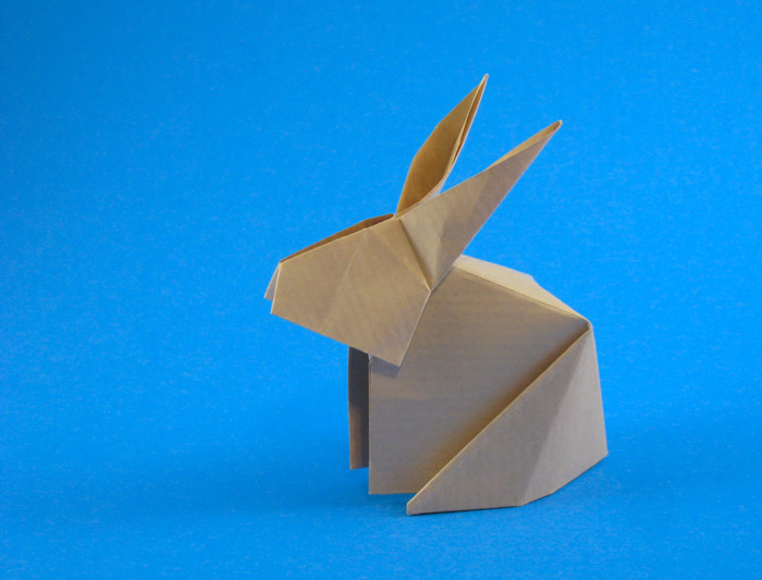 Origami Rabbit by Fumiaki Kawahata Folded from a square of Kraft origami paper by Gilad Aharoni on giladorigami.com