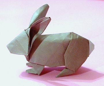 Origami Rabbit by Robert J. Lang Folded from a square of kami by Gilad Aharoni on giladorigami.com