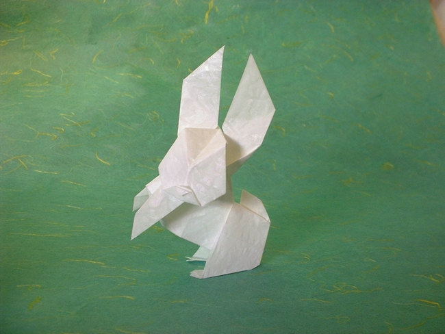 Origami Rabbit by Seiji Nishikawa Folded from 2 squares of Alabaster origami paper by Gilad Aharoni on giladorigami.com