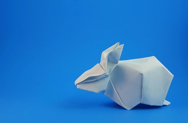 Origami Rabbit by Akira Yoshizawa Wet folded from a square of cardstock by Gilad Aharoni on giladorigami.com