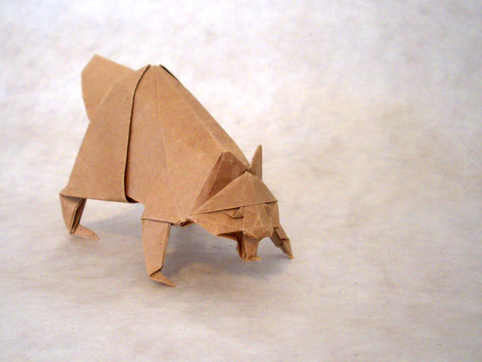 Origami Raccoon dog by Miyajima Noboru Folded from a square of thin brown wrapping paper by Gilad Aharoni on giladorigami.com