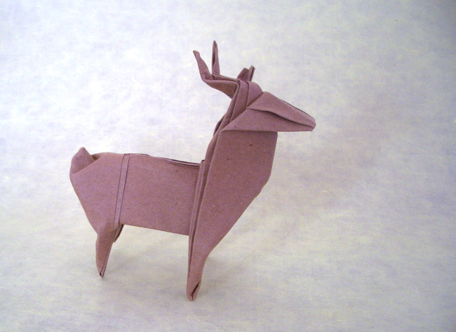 Origami Reindeer by John Montroll Folded from a square of watercolor paper by Gilad Aharoni on giladorigami.com