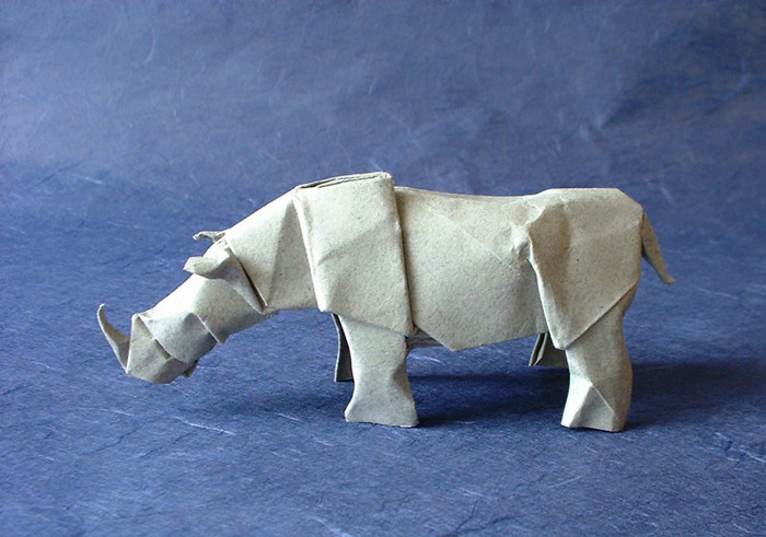 Origami Rhinoceros by Lionel Albertino Wet-folded from a square of Strathmore