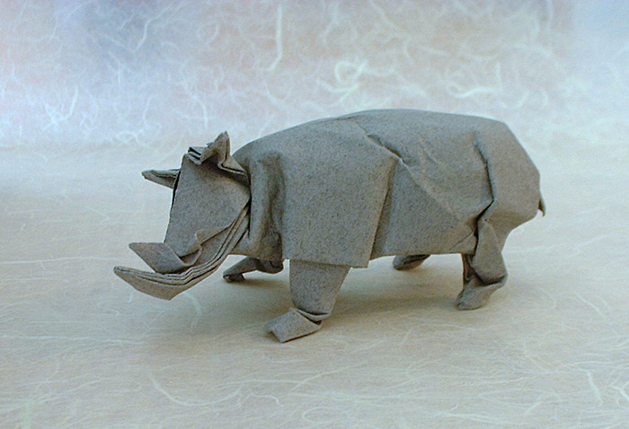 Origami Rhinoceros by David Brill folded by Gilad Aharoni on giladorigami.com