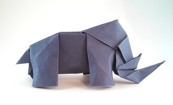 Origami Rhinoceros by Paul Frasco Wet-folded from a square of Canson watercolor paper by Gilad Aharoni on giladorigami.com