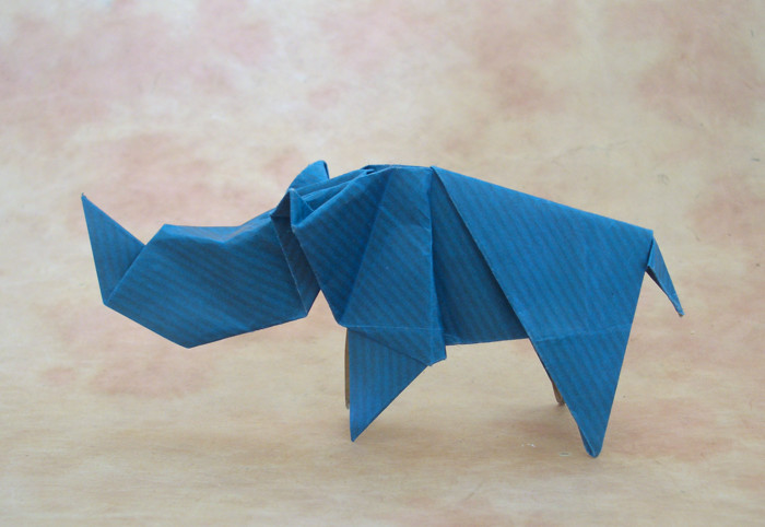 Origami Rhinoceros by Seiji Nishikawa Folded from a square of Kraft paper by Gilad Aharoni on giladorigami.com