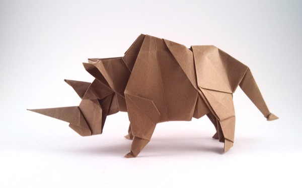 Origami Rhinoceros by Miyajima Noboru Folded from a square of Tant paper by Gilad Aharoni on giladorigami.com