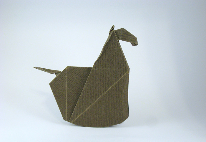 Origami Rocking horse by Jeremy Shafer Folded from a square of Kraft origami paper by Gilad Aharoni on giladorigami.com