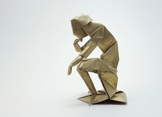 Origami Rodin's Thinker by Neal Elias folded by Gilad Aharoni on giladorigami.com