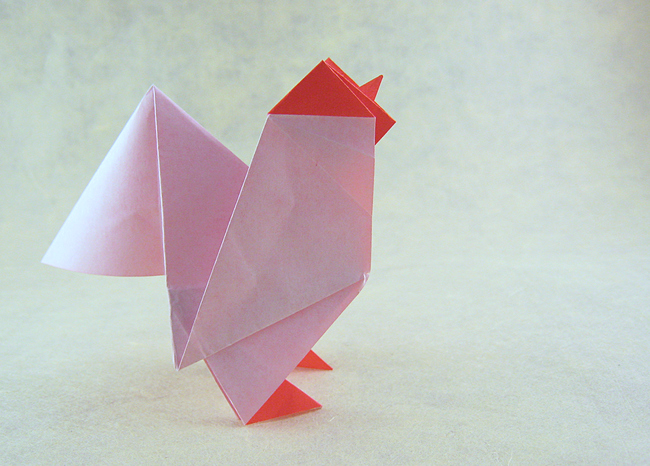 Origami Rooster by Roman Diaz Folded from a square of origami paper by Gilad Aharoni on giladorigami.com