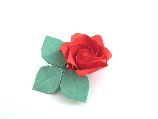 Origami Rose - 1 minute by Toshikazu Kawasaki folded by Gilad Aharoni on giladorigami.com