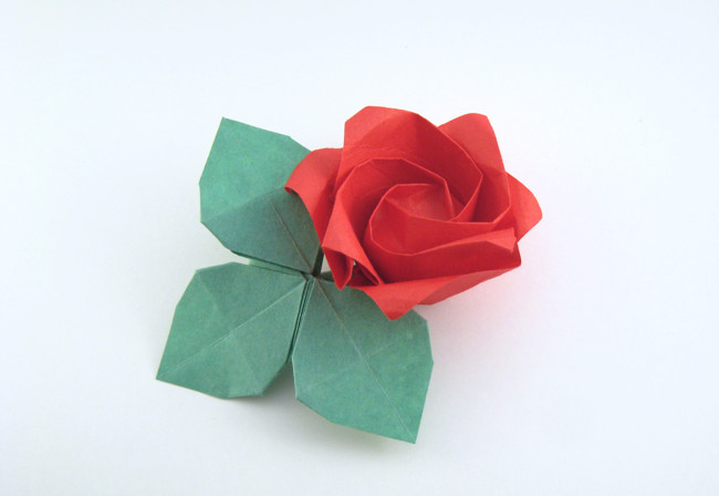 Origami Rose leaves by Toshikazu Kawasaki folded by Gilad Aharoni on giladorigami.com