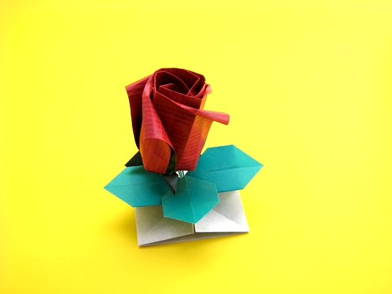 Origami Rose base by Toshikazu Kawasaki folded by Gilad Aharoni